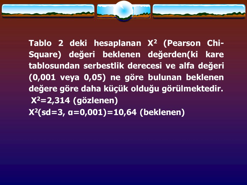 Tablo 2 deki hesaplanan Χ 2 (Pearson Chi- Square) değeri beklenen değerden(ki kare tablosundan serbestlik derecesi ve alfa değeri (0,001 veya 0,05) ne göre bulunan beklenen değere göre daha küçük olduğu görülmektedir.