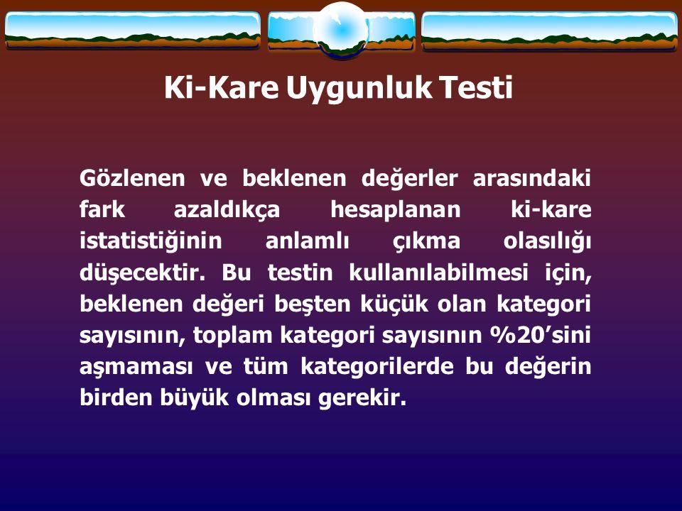 Ki-Kare testindeki amacımız gözlenen değerlerin (fakültelere göre atanan öğretmen sayıları) beklenen değerden (158,5) farklı olup olmadığını tespit etmektir.