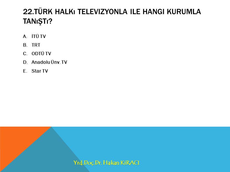 22.TÜRK HALKı TELEVIZYONLA ILE HANGI KURUMLA TANıŞTı.