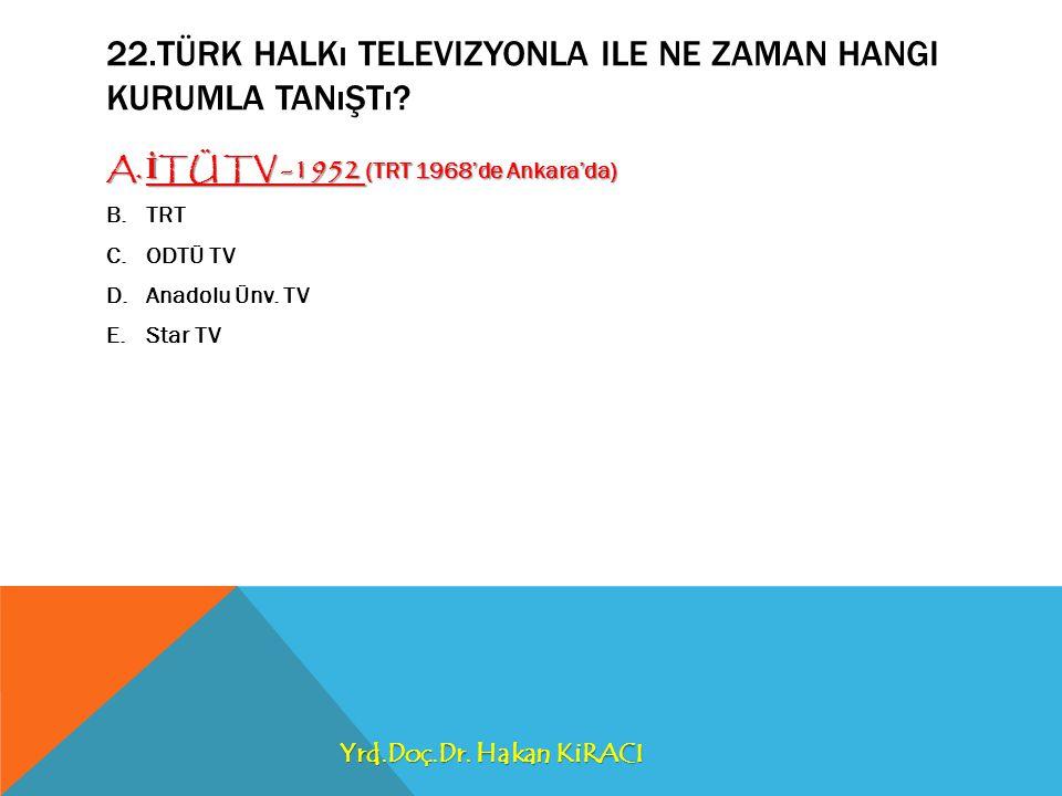 22.TÜRK HALKı TELEVIZYONLA ILE NE ZAMAN HANGI KURUMLA TANıŞTı.