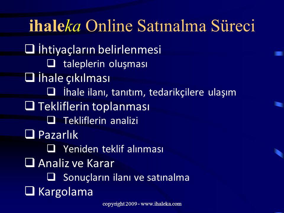 copyright 2009 - www.ihaleka.com ihaleka Online Satınalma Süreci  İhtiyaçların belirlenmesi  taleplerin oluşması  İhale çıkılması  İhale ilanı, ta