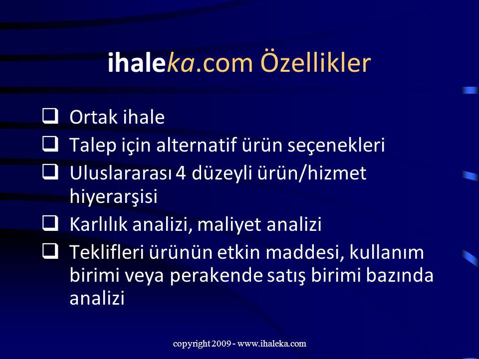 copyright 2009 - www.ihaleka.com ihaleka.com Özellikler  Ortak ihale  Talep için alternatif ürün seçenekleri  Uluslararası 4 düzeyli ürün/hizmet hi