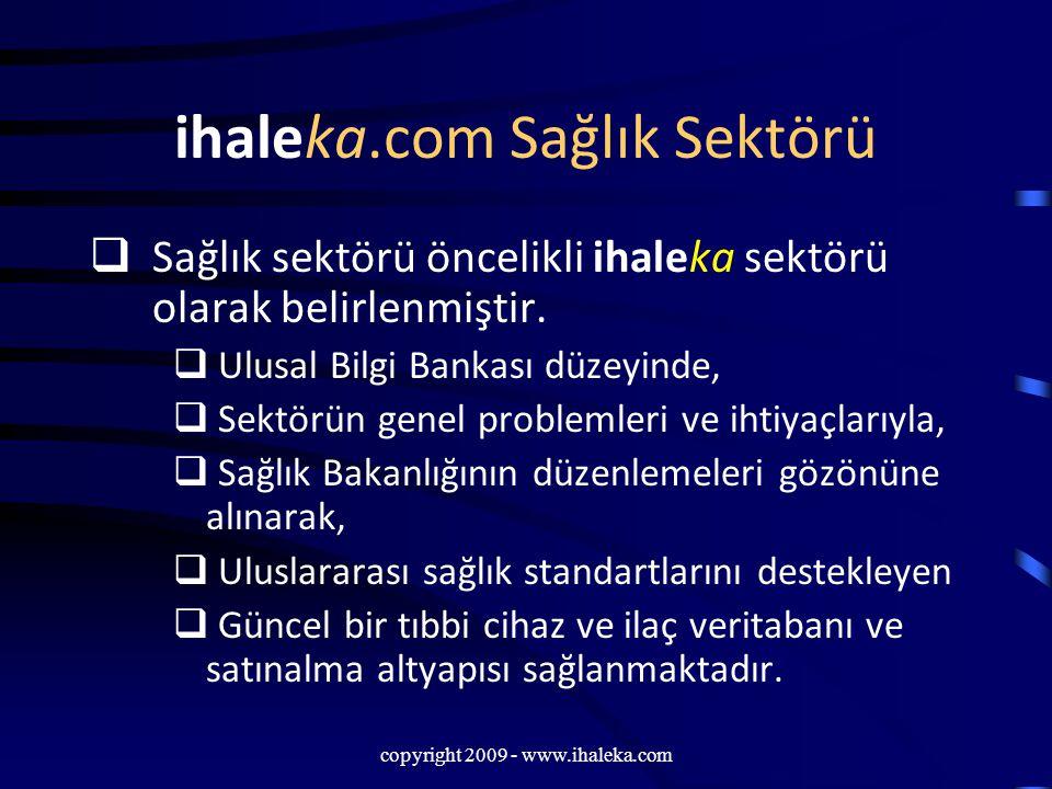 copyright 2009 - www.ihaleka.com ihaleka.com Sağlık Sektörü  Sağlık sektörü öncelikli ihaleka sektörü olarak belirlenmiştir.  Ulusal Bilgi Bankası d