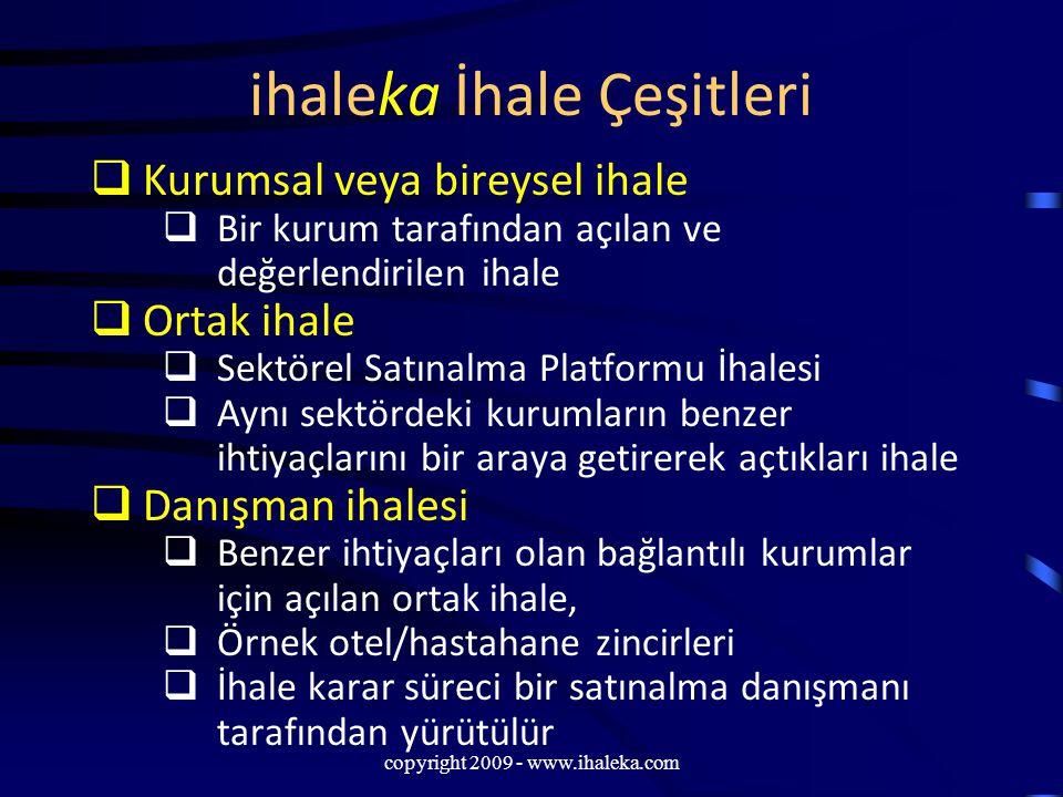 copyright 2009 - www.ihaleka.com ihaleka İhale Çeşitleri  Kurumsal veya bireysel ihale  Bir kurum tarafından açılan ve değerlendirilen ihale  Ortak