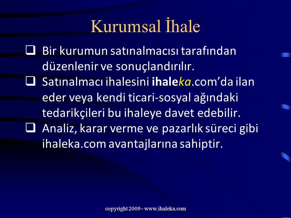 copyright 2009 - www.ihaleka.com Kurumsal İhale  Bir kurumun satınalmacısı tarafından düzenlenir ve sonuçlandırılır.  Satınalmacı ihalesini ihaleka.