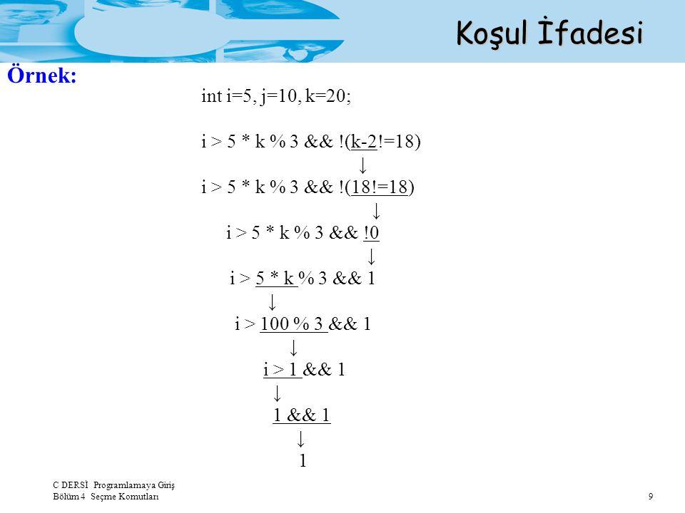 C DERSİ Programlamaya Giriş Bölüm 4 Seçme Komutları 9 Koşul İfadesi Örnek: int i=5, j=10, k=20; i > 5 * k % 3 && !(k-2!=18) ↓ i > 5 * k % 3 && !(18!=1