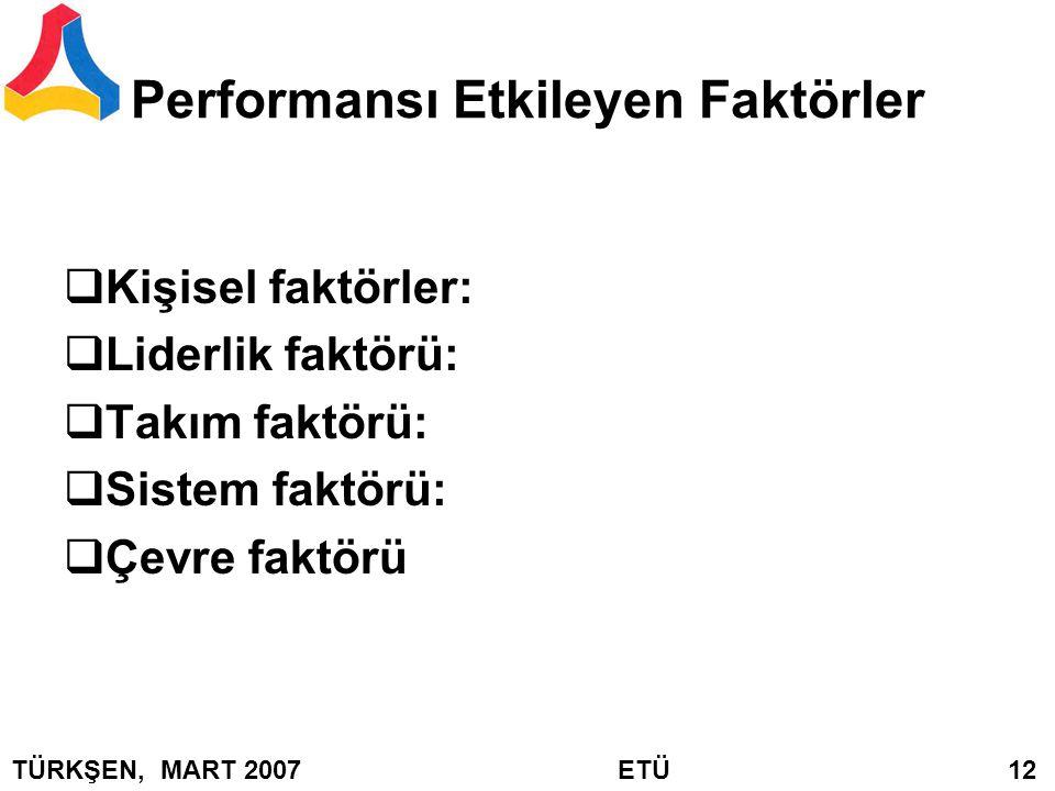 Performansı Etkileyen Faktörler  Kişisel faktörler:  Liderlik faktörü:  Takım faktörü:  Sistem faktörü:  Çevre faktörü TÜRKŞEN, MART 2007 ETÜ 12