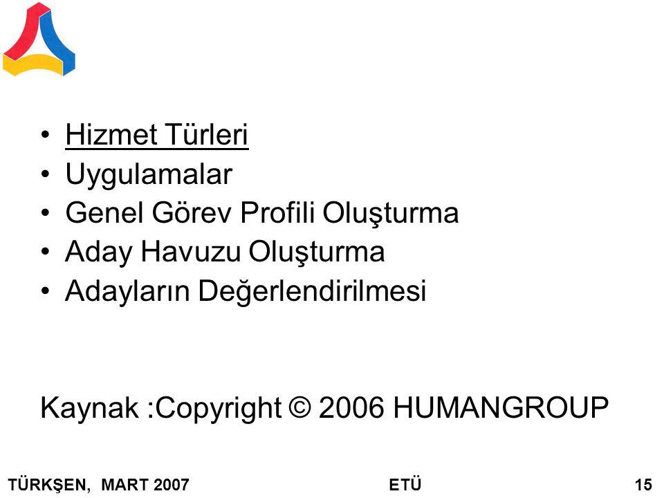 Hizmet Türleri Uygulamalar Genel Görev Profili Oluşturma Aday Havuzu Oluşturma Adayların Değerlendirilmesi Kaynak :Copyright © 2006 HUMANGROUP TÜRKŞEN