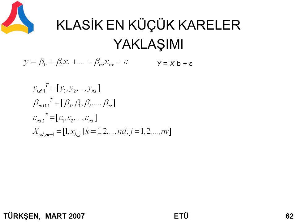KLASİK EN KÜÇÜK KARELER YAKLAŞIMI Y = X b + ε TÜRKŞEN, MART 2007 ETÜ 62