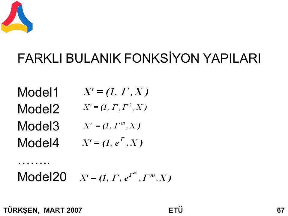 FARKLI BULANIK FONKSİYON YAPILARI Model1 Model2 Model3 Model4 …….. Model20 TÜRKŞEN, MART 2007 ETÜ 67