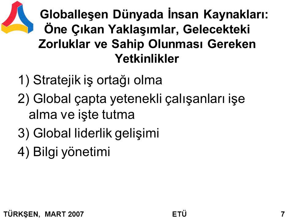 İnsan Kaynaklarının Karşılaşacağı Önemli Zorluklar Globalleşme Karlılık Teknoloji Entellektüel sermaye Değişimi gerçekleştirmek İnsan Kaynaklarının Sahip Olması Gereken Liderlik Yetkinlikleri TÜRKŞEN, MART 2007 ETÜ 8