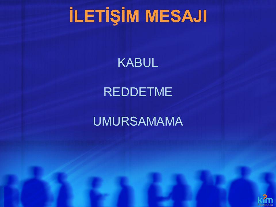 İLETİŞİM MESAJI KABUL REDDETME UMURSAMAMA