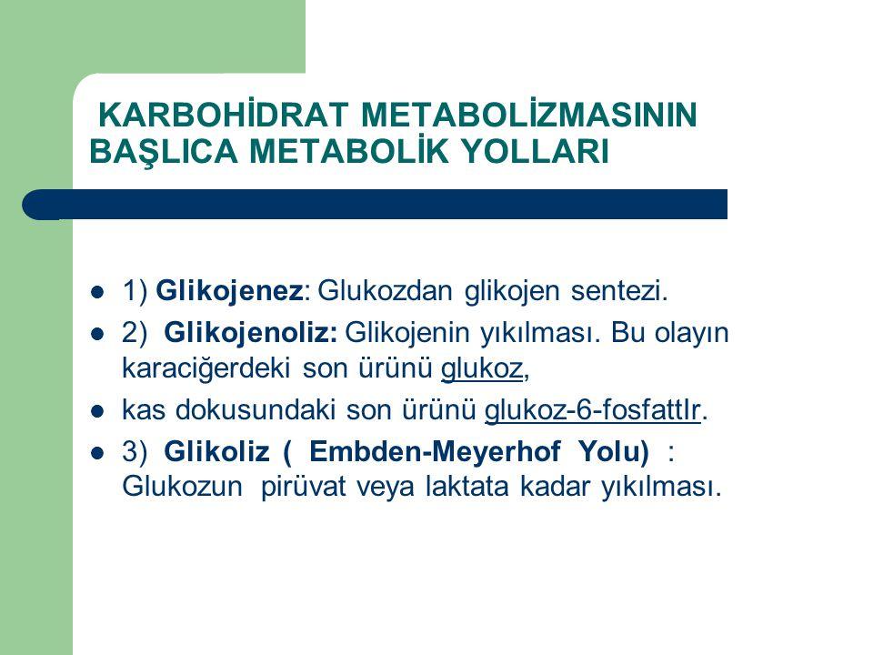 KARBOHİDRAT METABOLİZMASININ BAŞLICA METABOLİK YOLLARI 1) Glikojenez: Glukozdan glikojen sentezi. 2) Glikojenoliz: Glikojenin yıkılması. Bu olayın kar
