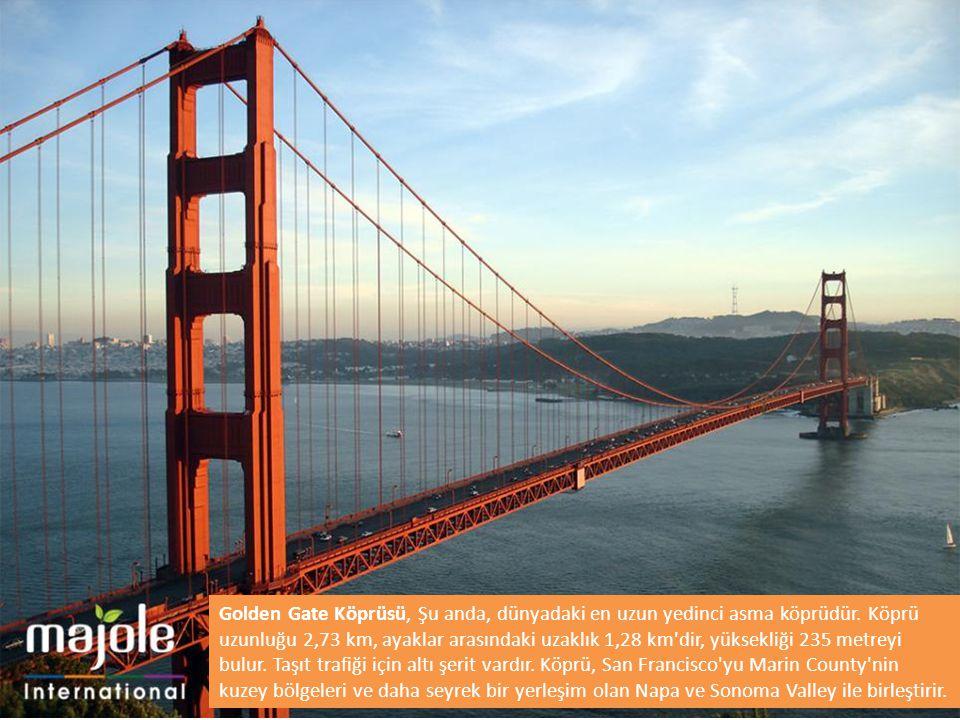 Golden Gate Köprüsü, Şu anda, dünyadaki en uzun yedinci asma köprüdür. Köprü uzunluğu 2,73 km, ayaklar arasındaki uzaklık 1,28 km'dir, yüksekliği 235