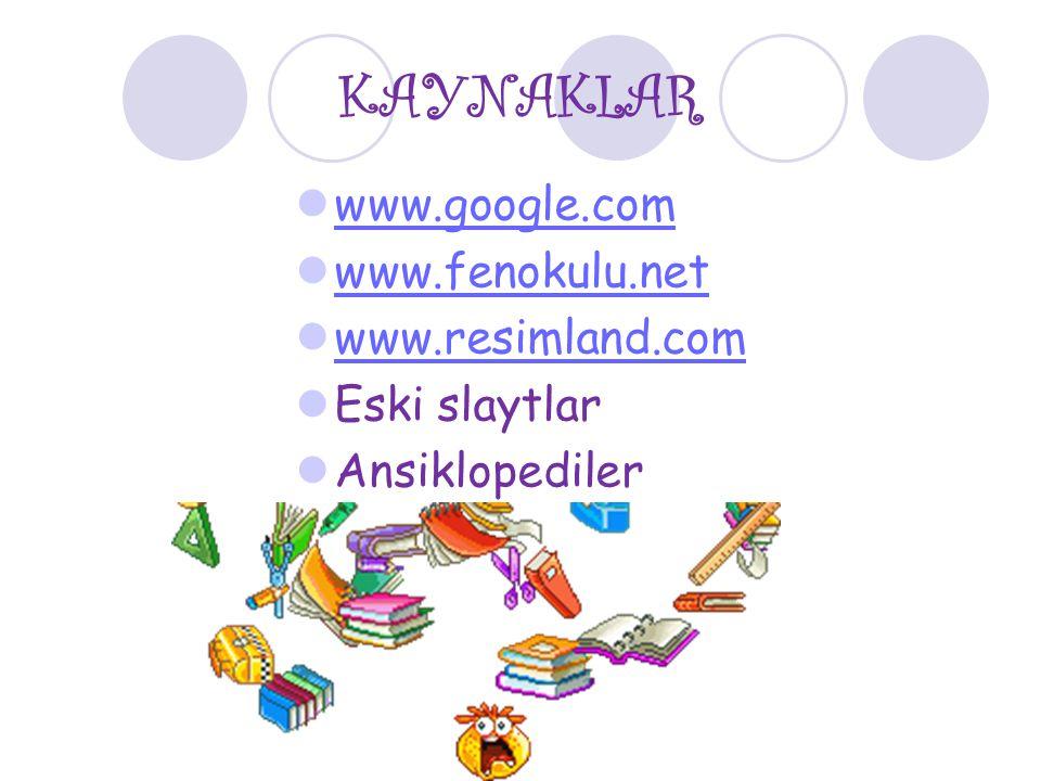 KAYNAKLAR www.google.com www.fenokulu.net www.resimland.com Eski slaytlar Ansiklopediler