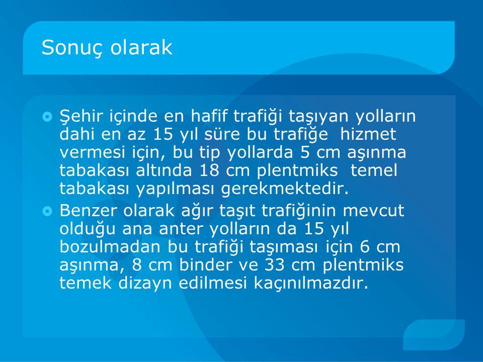 Sonuç olarak  Şehir içinde en hafif trafiği taşıyan yolların dahi en az 15 yıl süre bu trafiğe hizmet vermesi için, bu tip yollarda 5 cm aşınma tabak