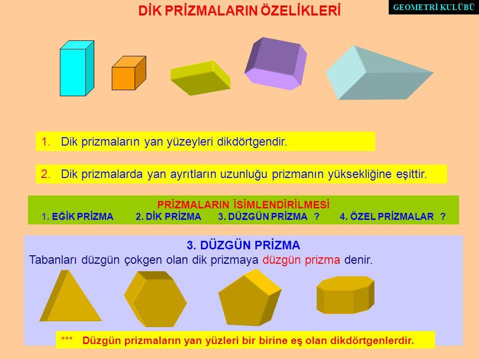 SONUÇLAR PRİZMA Bir prizmatik yüzeyin ana doğrularını kesen iki paralel düzlemle, prizmatik yüzey arasında kalan kapalı cisme prizma denir. 2. Alt ve