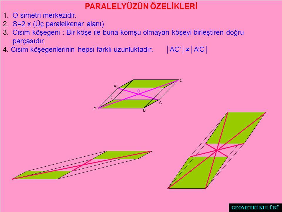PARALELYÜZÜN ÖZELİKLERİ 1.O simetri merkezidir. 2.