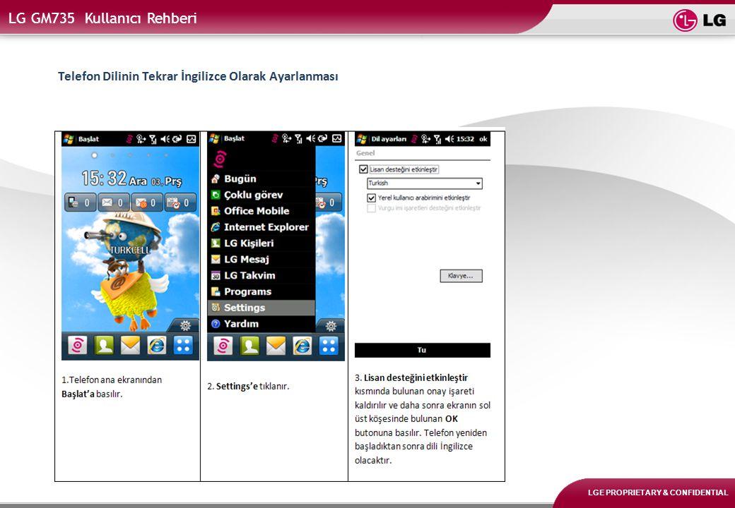 LGE PROPRIETARY & CONFIDENTIAL LG GM735 Kullanıcı Rehberi