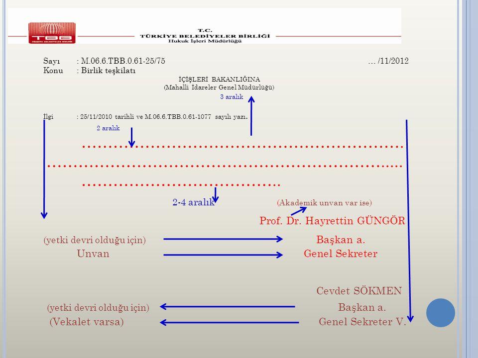 İMZA Sayı: M.06.6.TBB.0.61-25/75 … /11/2012 Konu: Birlik teşkilatı İÇİŞLERİ BAKANLIĞINA (Mahalli İdareler Genel Müdürlüğü) 3 aralık İlgi: 25/11/2010 tarihli ve M.06.6.TBB.0.61-1077 sayılı yazı.