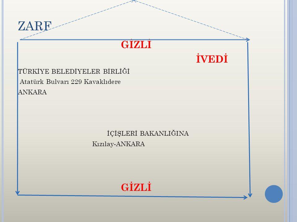 ZARF GİZLİ İVEDİ TÜRKİYE BELEDİYELER BİRLİĞİ Atatürk Bulvarı 229 Kavaklıdere ANKARA İÇİŞLERİ BAKANLIĞINA Kızılay-ANKARA GİZLİ