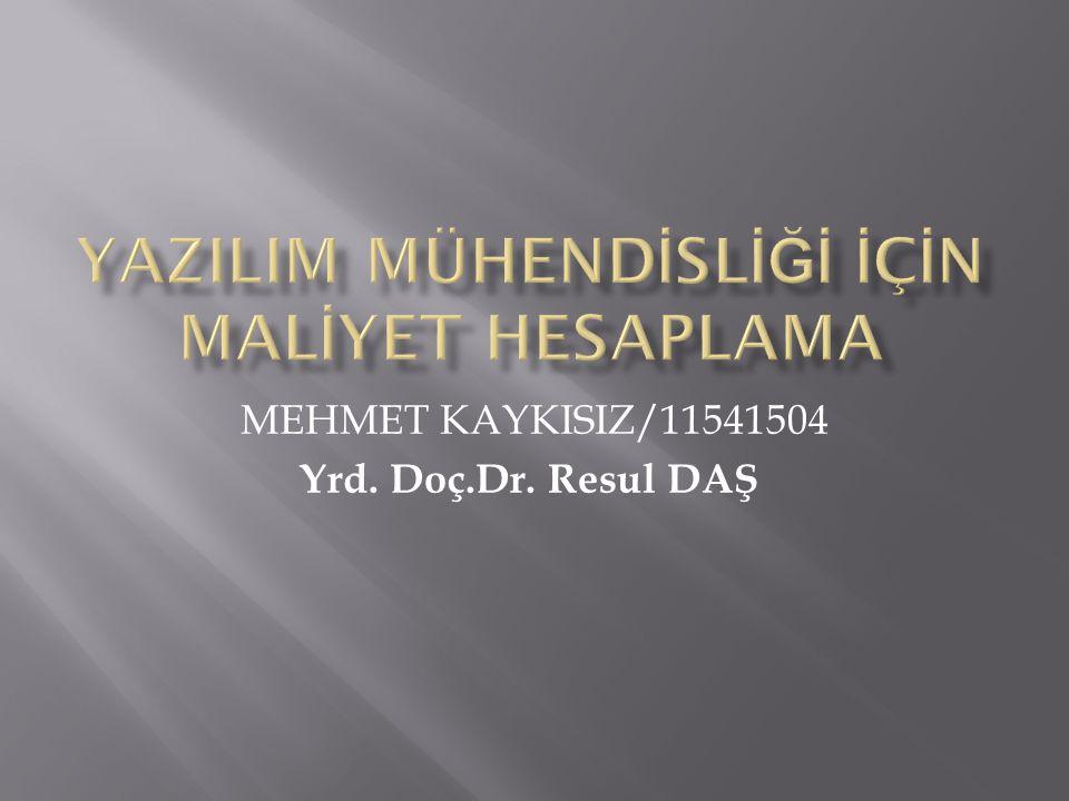 MEHMET KAYKISIZ/11541504 Yrd. Doç.Dr. Resul DAŞ