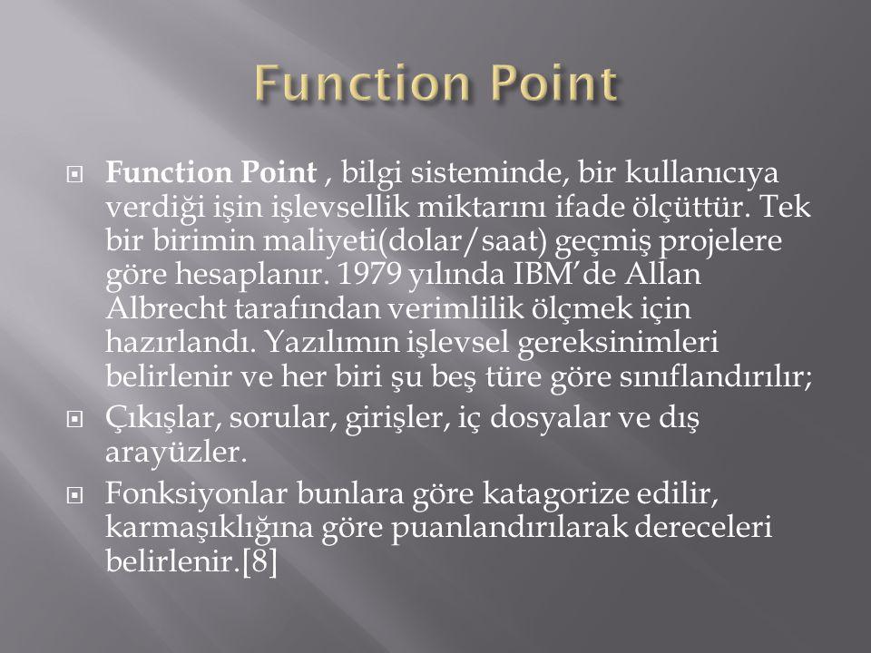  Function Point, bilgi sisteminde, bir kullanıcıya verdiği işin işlevsellik miktarını ifade ölçüttür. Tek bir birimin maliyeti(dolar/saat) geçmiş pro