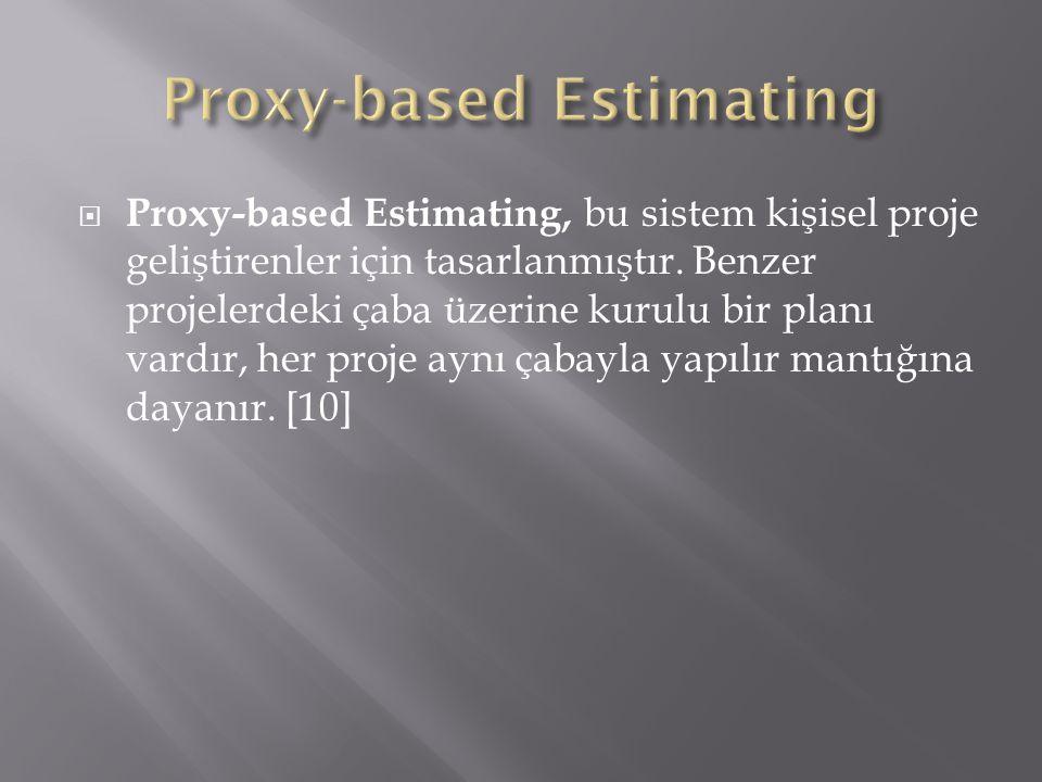  Proxy-based Estimating, bu sistem kişisel proje geliştirenler için tasarlanmıştır. Benzer projelerdeki çaba üzerine kurulu bir planı vardır, her pro