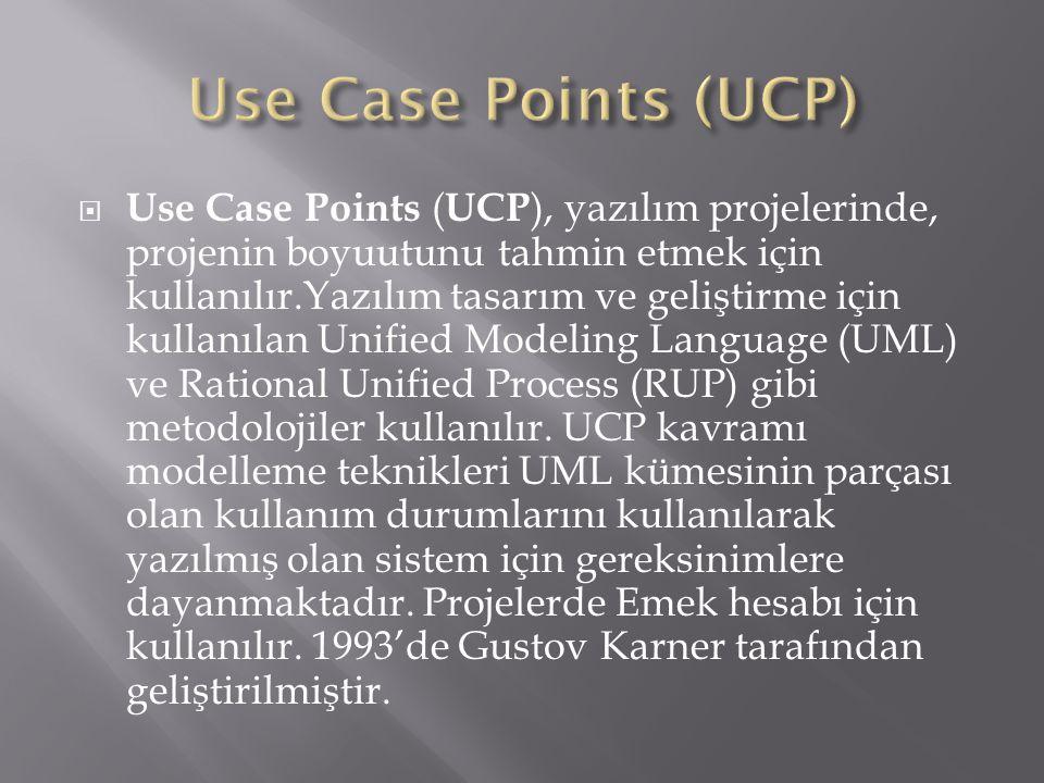  Use Case Points ( UCP ), yazılım projelerinde, projenin boyuutunu tahmin etmek için kullanılır.Yazılım tasarım ve geliştirme için kullanılan Unified