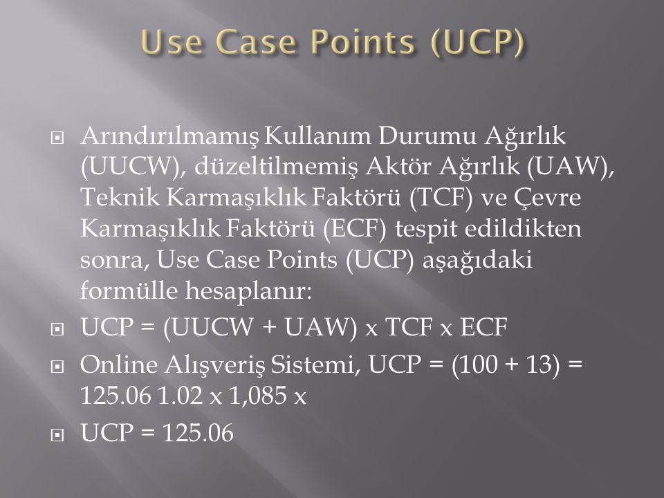  Arındırılmamış Kullanım Durumu Ağırlık (UUCW), düzeltilmemiş Aktör Ağırlık (UAW), Teknik Karmaşıklık Faktörü (TCF) ve Çevre Karmaşıklık Faktörü (ECF