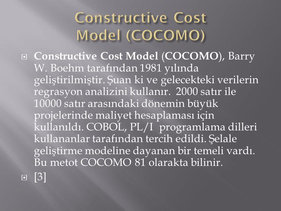  Constructive Cost Model ( COCOMO ), Barry W. Boehm tarafından 1981 yılında geliştirilmiştir. Şuan ki ve gelecekteki verilerin regrasyon analizini ku