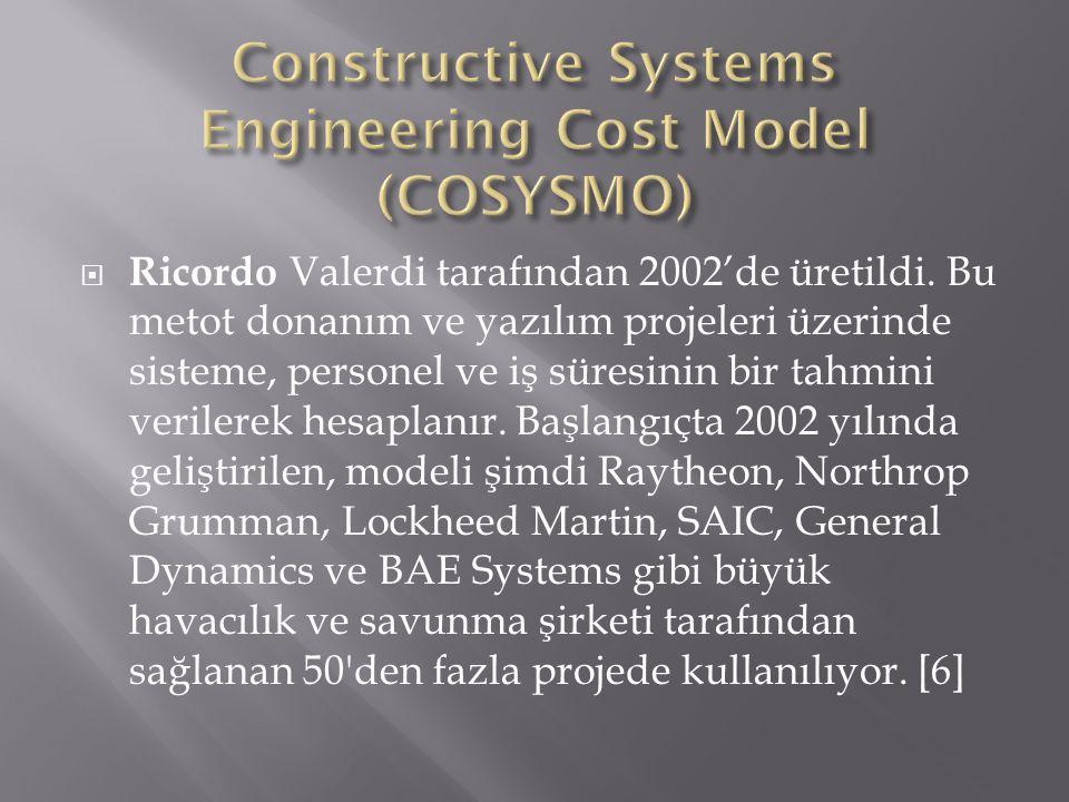  Ricordo Valerdi tarafından 2002'de üretildi. Bu metot donanım ve yazılım projeleri üzerinde sisteme, personel ve iş süresinin bir tahmini verilerek