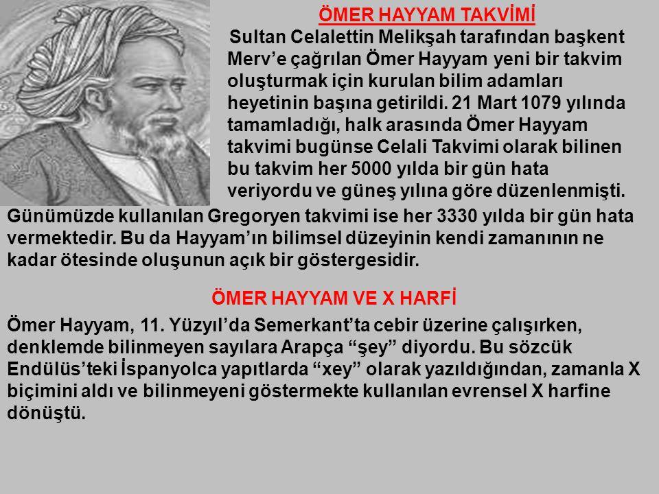 ÖMER HAYYAM TAKVİMİ Sultan Celalettin Melikşah tarafından başkent Merv'e çağrılan Ömer Hayyam yeni bir takvim oluşturmak için kurulan bilim adamları h