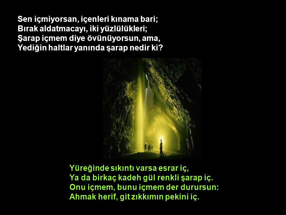 Benden Muhammet Mustafa'ya saygı ve selam: Deyin ki, hoş görünürse, bir şey soracak Hayyam: Neden Yüce Efendimizin buyruklarında Ekşi ayran helâl de güzelim şarap haram.