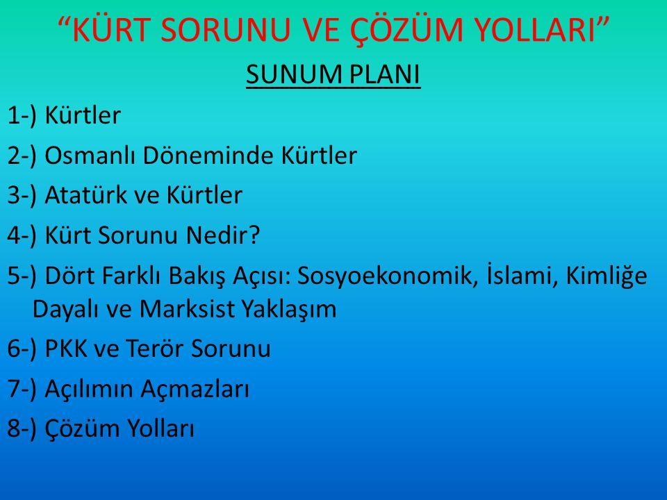 3-) ATATÜRK VE KÜRTLER -Kürt isyanlarının devleti yıkılma-bölünme noktasına götürmesi nedeniyle 1925 yılındaki Takrir-i Sükun Kanunu'ndan başlayarak devlet bu konuda daha baskıcı bir tutum belirlemek durumunda kalmıştır.