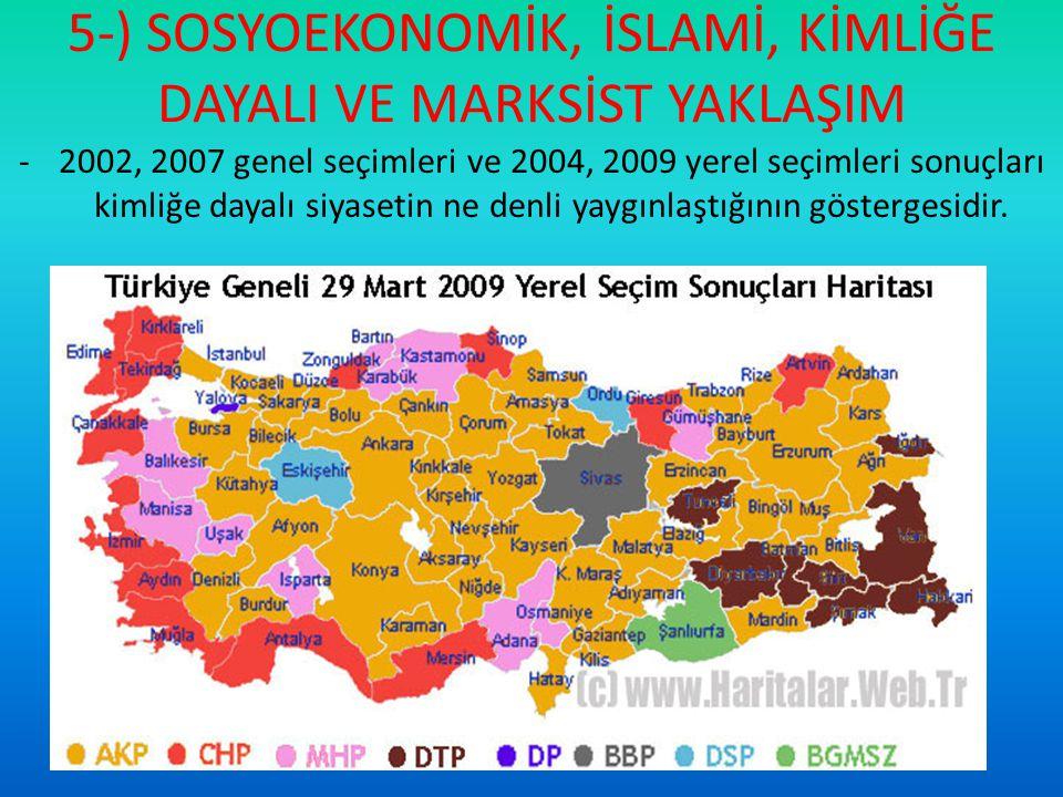 5-) SOSYOEKONOMİK, İSLAMİ, KİMLİĞE DAYALI VE MARKSİST YAKLAŞIM -2002, 2007 genel seçimleri ve 2004, 2009 yerel seçimleri sonuçları kimliğe dayalı siya