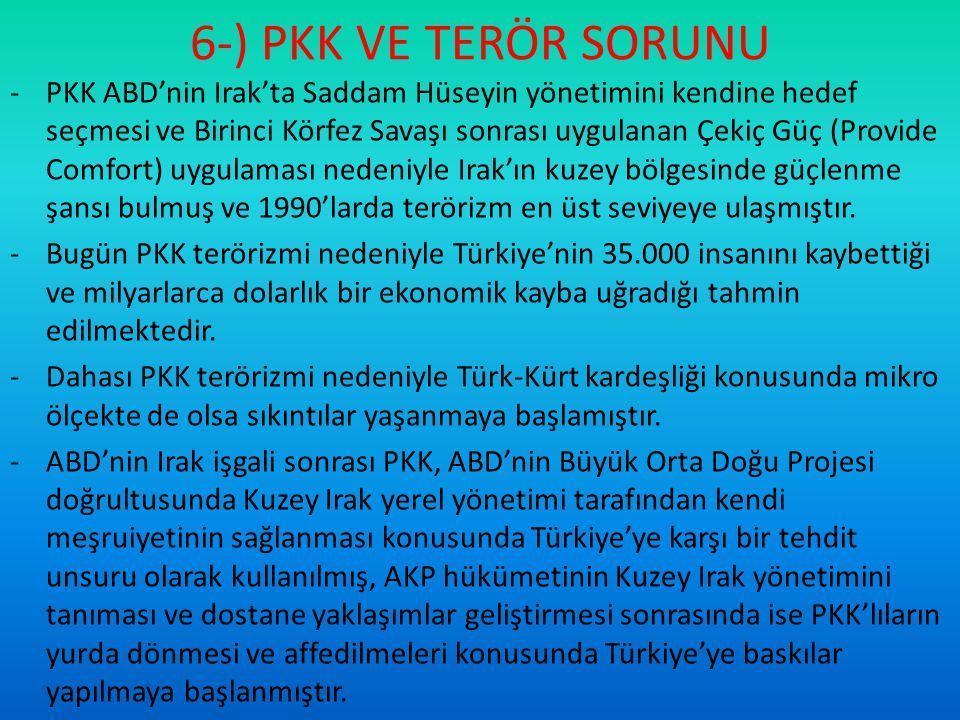 6-) PKK VE TERÖR SORUNU -PKK ABD'nin Irak'ta Saddam Hüseyin yönetimini kendine hedef seçmesi ve Birinci Körfez Savaşı sonrası uygulanan Çekiç Güç (Pro
