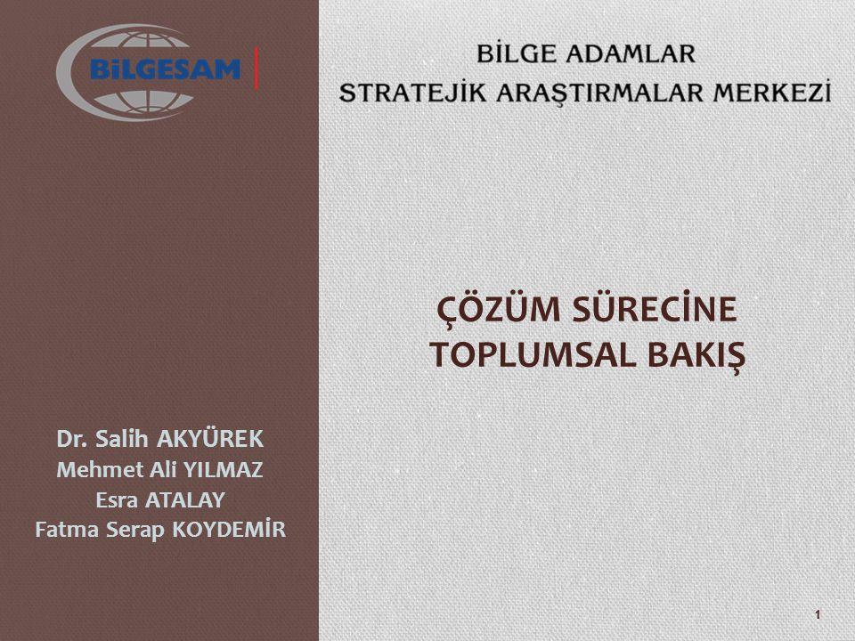 ÇÖZÜM SÜRECİNE TOPLUMSAL BAKIŞ Dr. Salih AKYÜREK Mehmet Ali YILMAZ Esra ATALAY Fatma Serap KOYDEMİR 1