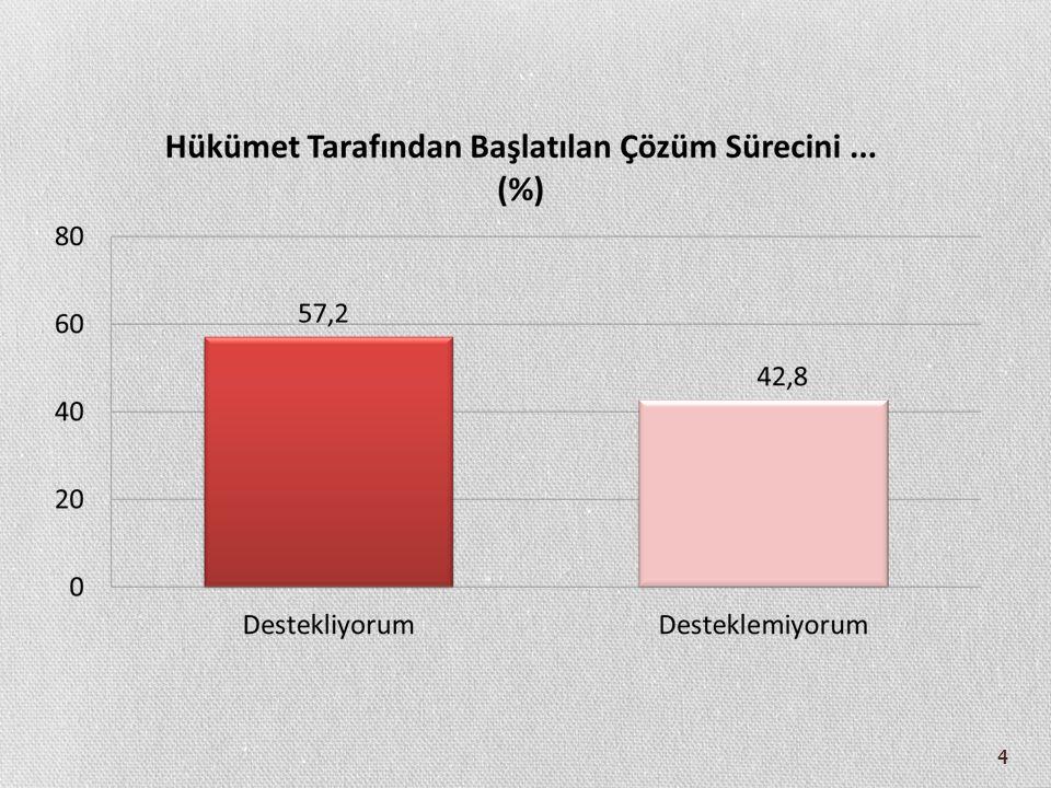 45 Kürt Meselesi Çözüm Önerilerinin Oy Verilen Siyasi Partiye Göre Farklılaşması (%) AKPCHPMHPBDP Kürtlere eşit yurttaşlık haklarının verilmesi 47,626,114,544,8 Yerel yönetimlerin güçlendirilmesi 13,812,05,016,4 Bölgesel/demokratik özerklik 2,83,21,131,3 Federatif yapı 2,41,004,5 Bağımsızlık 0,60,70,63 Hiçbirisini desteklemiyorum 26,854,677,10 Fikrim yok 6,02,41,70 Toplam 100