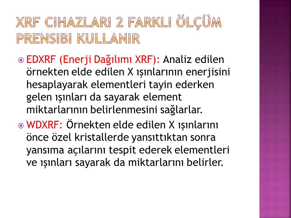  EDXRF (Enerji Dağılımı XRF): Analiz edilen örnekten elde edilen X ışınlarının enerjisini hesaplayarak elementleri tayin ederken gelen ışınları da sa