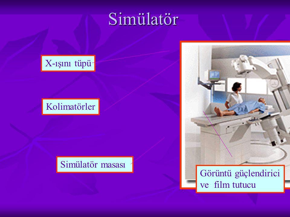 Simülatör X-ışını tüpü Simülatör masası Görüntü güçlendirici ve film tutucu Kolimatörler