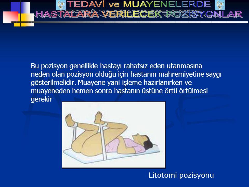 Bu pozisyon genellikle hastayı rahatsız eden utanmasına neden olan pozisyon olduğu için hastanın mahremiyetine saygı gösterilmelidir. Muayene yani işl