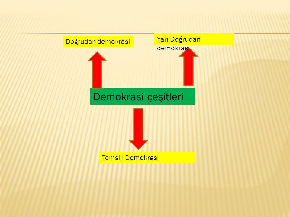 Demokrasi çeşitleri Doğrudan demokrasi Yarı Doğrudan demokrasi Temsili Demokrasi