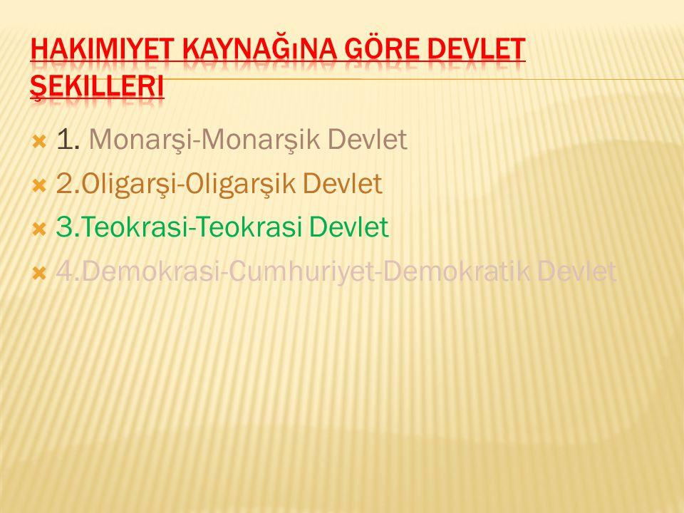 OOsmanlı Devleti,Monarşi ile Teokrasi'yi bir arada yaşamıştır TTürkiye Cumhuriyeti Devleti, Cumhuriyet'in yanında Demokrasi'yi kullanmaktadır