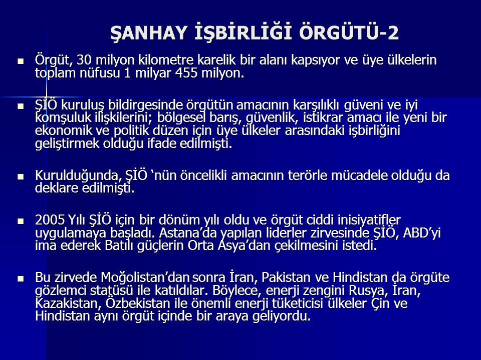 ŞANHAY İŞBİRLİĞİ ÖRGÜTÜ-1 ÇHC Rusya Federasyonu ve Türkistan devletleriyle birlikte, öncelikli olarak sınır sorunları ve terörizm kaynaklı güvenlik pr