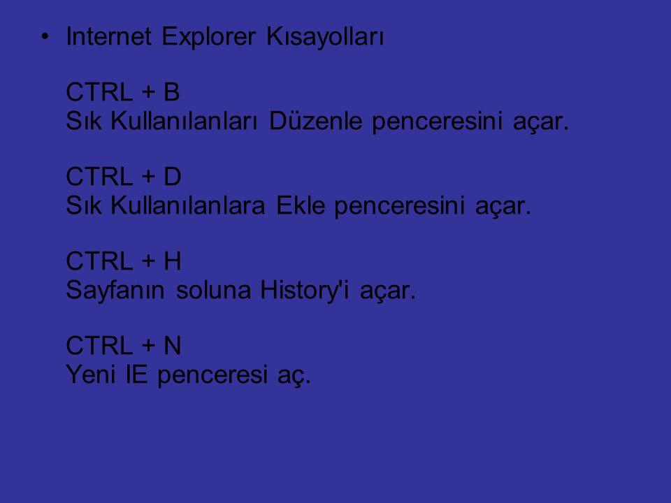 Internet Explorer Kısayolları CTRL + B Sık Kullanılanları Düzenle penceresini açar. CTRL + D Sık Kullanılanlara Ekle penceresini açar. CTRL + H Sayfan