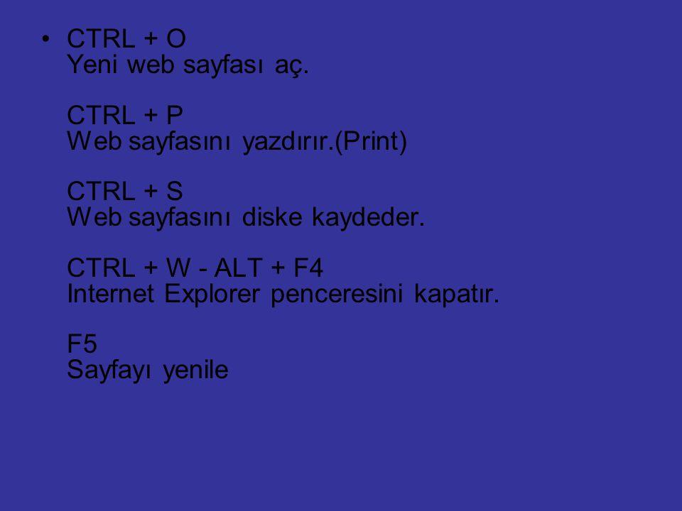CTRL + O Yeni web sayfası aç. CTRL + P Web sayfasını yazdırır.(Print) CTRL + S Web sayfasını diske kaydeder. CTRL + W - ALT + F4 Internet Explorer pen
