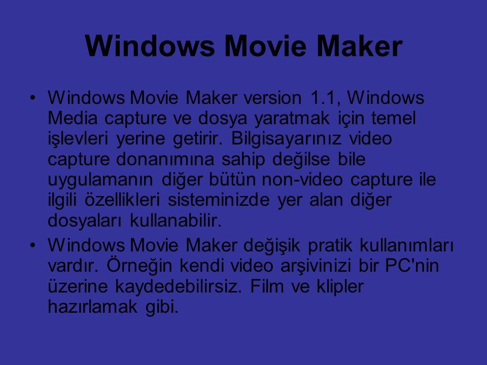 Windows Movie Maker Windows Movie Maker version 1.1, Windows Media capture ve dosya yaratmak için temel işlevleri yerine getirir. Bilgisayarınız video