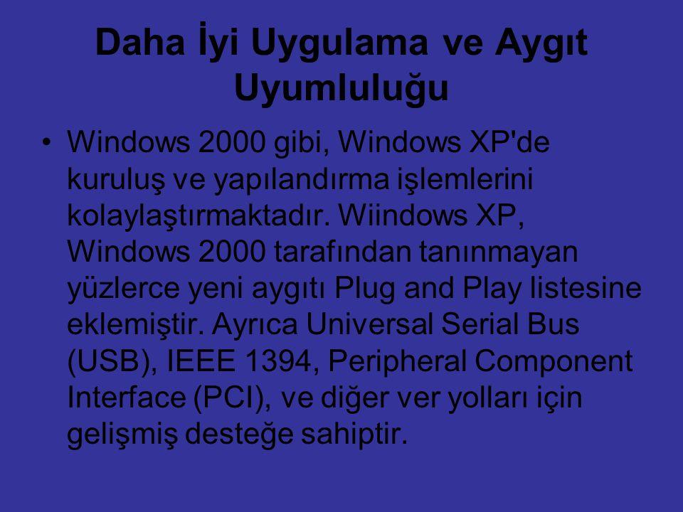 Daha İyi Uygulama ve Aygıt Uyumluluğu Windows 2000 gibi, Windows XP'de kuruluş ve yapılandırma işlemlerini kolaylaştırmaktadır. Wiindows XP, Windows 2