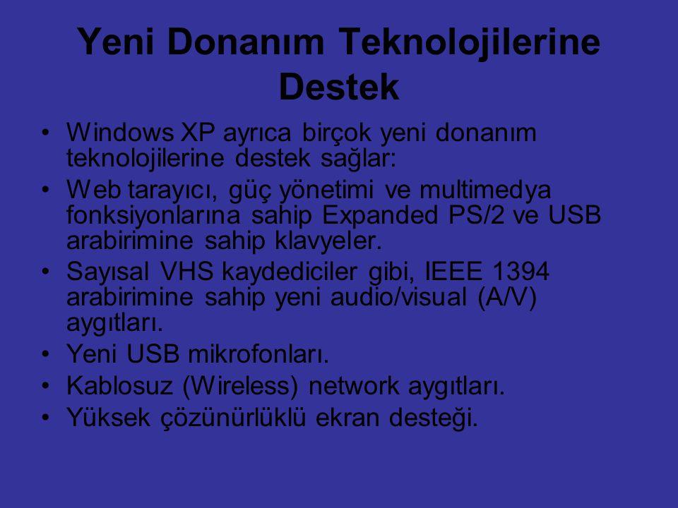 Yeni Donanım Teknolojilerine Destek Windows XP ayrıca birçok yeni donanım teknolojilerine destek sağlar: Web tarayıcı, güç yönetimi ve multimedya fonk